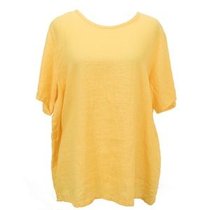 Yellow Flax Linen Top Blouse Lagenlook